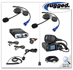 Rugged Radios RRP660 PLUS 2-Place Intercom with 25 Watt Waterproof Radio and Alpha Audio Helmet Kits