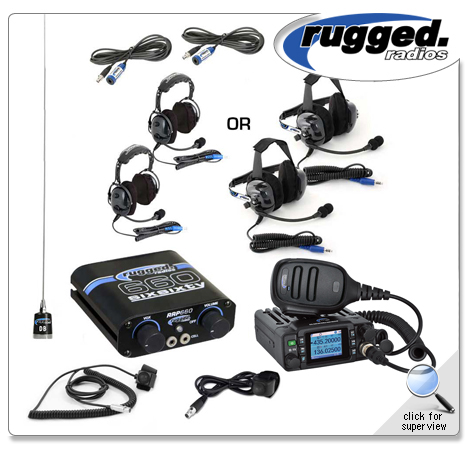 Rugged Radios RRP660 2-Place Intercom with 25 Watt Waterproof Radio and  BTU/OTU Headsets (COPY)