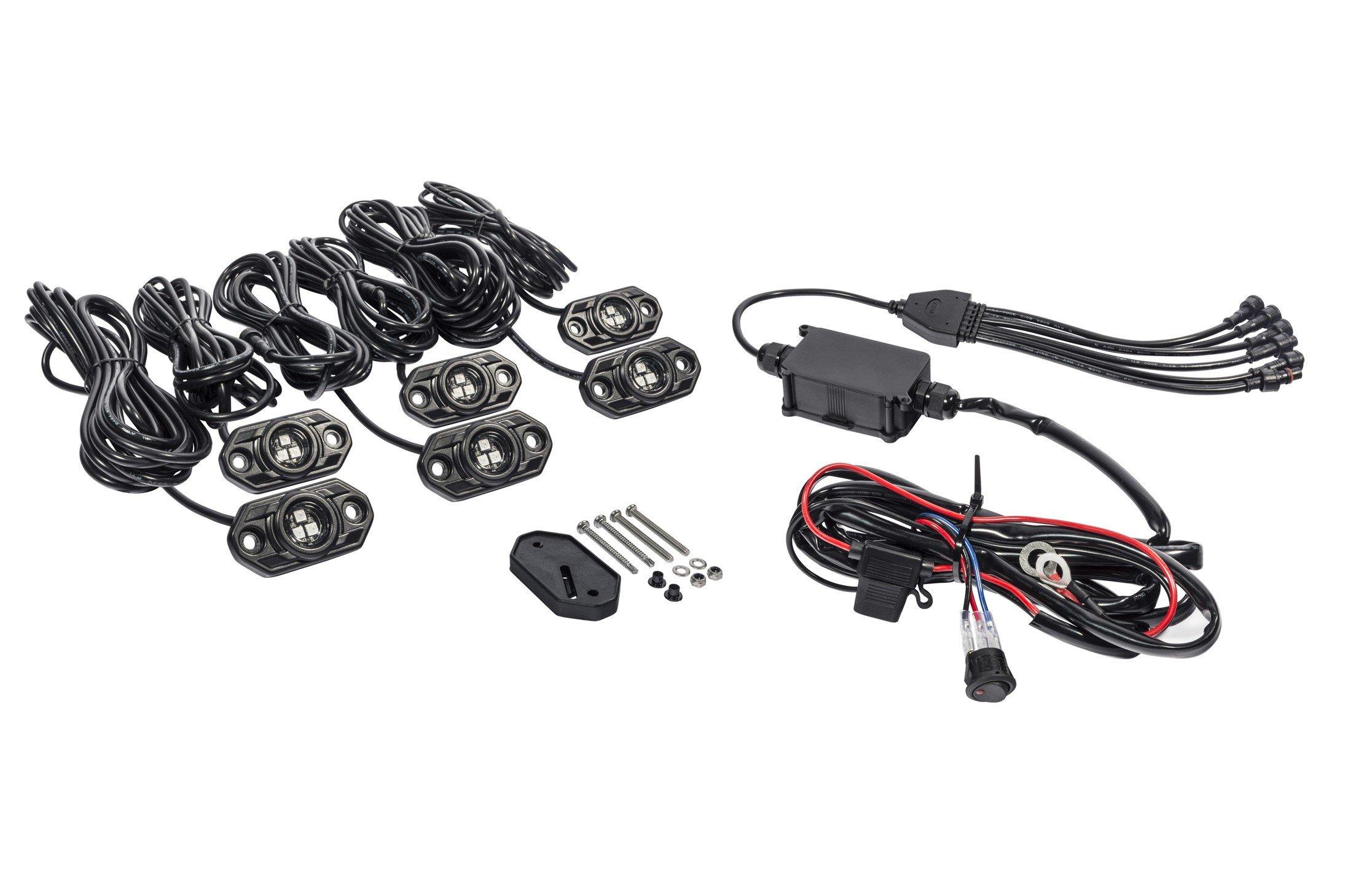 kc hilites c-series rgb led rock light kit - 6 pc