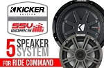 SSV Works Polaris RZR XP1000/Turbo Plug and Play Complete 5 Speaker Kicker Kit for Ride Command Systems