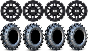 "KMC 14x7 XS128 Machete Wheel and EFX 28"" Moto Boss Tire Kit"