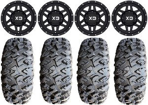 "KMC 14x7 XS128 Machete Wheels and EFX 27"" Moto Claw Tire Kit"