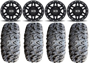 "KMC 15x7 XS228 Machete Wheel and EFX 31"" Moto Claw Tire Beadlock Kit"