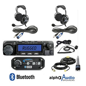 Rugged Radios RRP696 2-Place Intercom with 60 Watt Radio and Alpha Audio OTU Headsets