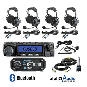 Rugged Radios RRP696 4-Place Intercom with 60 Watt Radio and Alpha Audio OTU Headsets