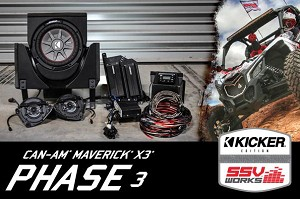SSV Works Can-Am Maverick X3 and X3 Max Complete 3-Speaker Plug and Play Kicker Stereo Kit