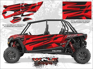 Wolf Designs Polaris 2016 RZR XP4 Turbo Matte Sunset Red Door Wrap Kit