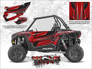 Wolf Designs Polaris 2016 RZR XP1000 Sunset Red Door Wrap Kit