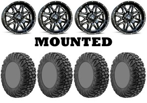 "MSA 18x7 M26 Vibe Wheel and EFX 34"" MotoVator Steel Belted Tire Kit Milled"